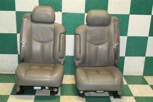 03 06 Escalade Gray Leather Driver Passenger Front Power Heated Bucket Seats Oem