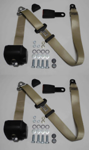 Three Point Automatic Seat Belt Set For Mg Mga Mgb Td And Others Beige 12cm