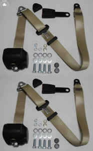 Three Point Automatic Seat Belt Set For Mg Mga Mgb Td And Others Beige 15cm