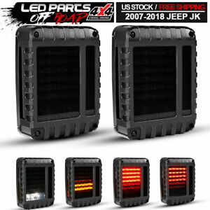 2pcs Smoke Led Tail Lights Brake Reverse Turn Signal Light For Jeep Wrangler Jk