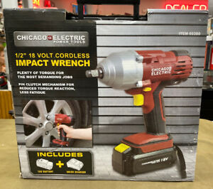 Chicago Electric 60380 18v 1 2 Cordless Impact Wrench Kit new