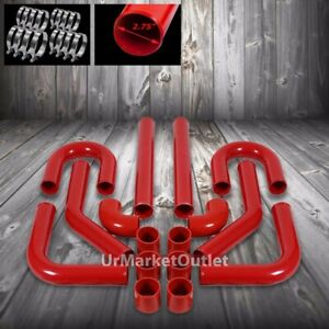 2 75 Red Universal 8pcs Turbo Intercooler Pipe Silicone Hose T Clamp Kit Piping