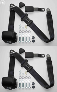 Three Point Automatic Seat Belt Set Mg Mga Mgb Td And Other Black New 15cm