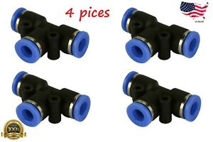 4 Piece Pneumatic Air Quick Push To Connect Fitting 1 4 Od t Tee Tube 6mm