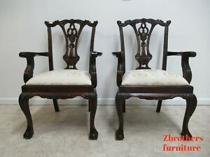 Pair Custom Antique Chippendale Ball Claw Dining Room Arm Chairs