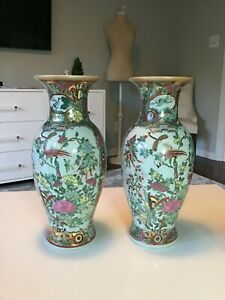 Pair Of Matching Qianlong Yuzhi Period Early1930 Chinese Rose Medallion Vases