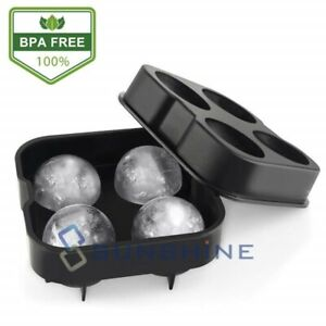 Black Round Silicon Ice Cube Ball Maker Tray 4 Large Sphere Molds Bar W Funnel