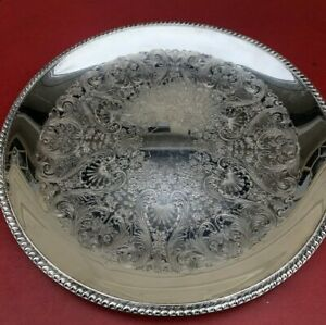 Vintage Wm Rogers 867 Large Floral Motif 17 1 2 Silver Plated Serving Tray