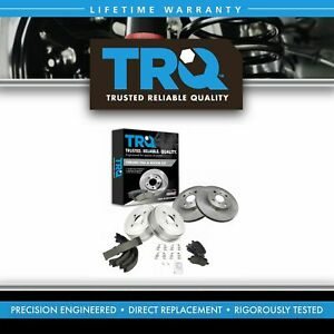 Trq Front Rear Posi Ceramic Disc Brake Pads Rotors Shoes Drum Kit For Toyota