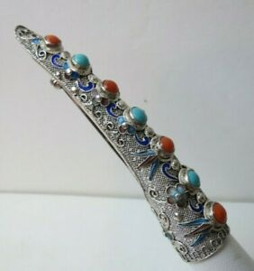 Antique Chinese Filigree Silver Enamel Coral Turquoise Finger Nail Guard Brooch