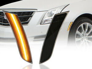 Usa Front Smoke Amber Led Bumper Side Marker Lights For 2013 2017 Cadillac Xts
