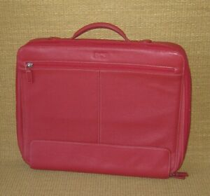 Laptop Case Levenger Red Fine Pebbled Leather Bag sleeve 15 5 X 13