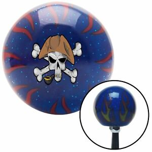 Pirate Skull N Gun Blue Flame Metal Flake Shift Knob W M16x1 5 Insert Shifter
