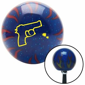 Yellow Gun Outline Blue Flame Metal Flake Shift Knob W M16x1 5 Insert Shifter