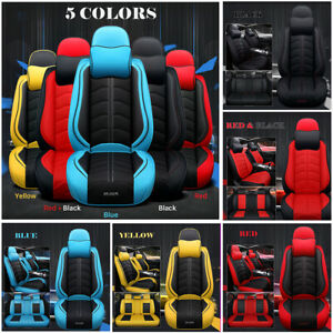 Deluxe 5 Seats Car Seat Cover Full Front Rear Cushion Size L Pu Leather W Pillow