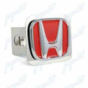 Red For Honda Polished Stainless Steel Hitch Cover Cap 2 Trailer Tow Receiver