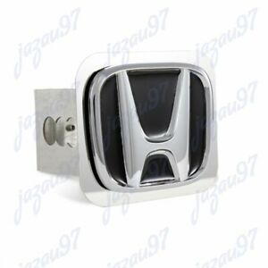 Black For Honda Polished Stainless Steel Hitch Cover For 2 Trailer Tow Receiver