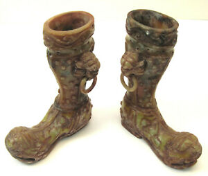 Chinese Soapstone Alabaster Boots Shoes Dynasty Style Fu Foo Dog Staues