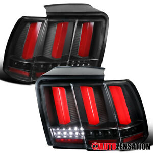 For 1999 2004 Ford Mustang Black Tail Lights W Red Led Sequential Signal Tube