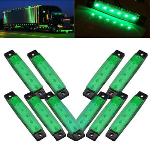 10x Green 24v 6led Side Marker Indicators Light Truck Trailer Lorry Clearence Us