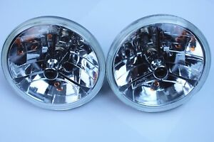 7 Tri Bar Black Dot H4 Headlights With Turn Signal Push In Bulb Lamps Pair