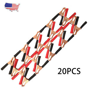 20pcs 80mm 50a Red Black Car Battery Test Lead Clip Crocodile Alligator Clamps