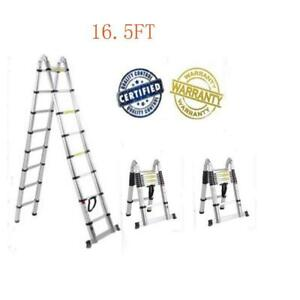 16 5ft Aluminum Telescopic Tall Multi purpose Scaffold Duty Ladder Extendable