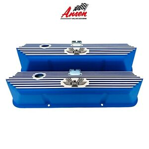 Ansen Ford Fe 390 American Eagle Engraved Aluminum Blue Valve Covers