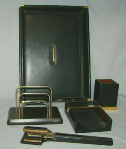 Mark Cross Italian Black Leather Desk Top Set letter Tray scissor opener More