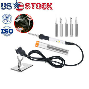 Soldering Iron Gun Kit Electrical Wire Tips Tool Set Solder Station 60w 110v New