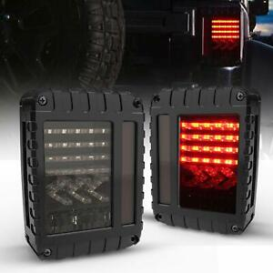 Fit 07 18 Jeep Jk Jku Wrangler Two Smoke Brake reverse turn Signal Led Taillight