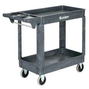 2 Layer Rolling Utility Cart Dolly Tool Storage Shelves Workshop Plastic Trolley