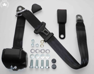 Three Point Automatic Seat Belt Mg Mga Mgb Td And Others Black 15cm Latch