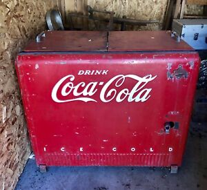 Coca Cola Commercial Cooler Chest Icebox Vintage 1941 Westinghouse Working