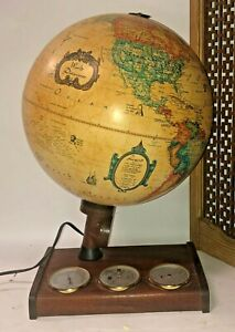 Vintage 1966 World Discoverer Light Up Globe Thermometer Barometer Humidity