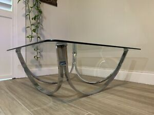 Vtg 32 Round Mid Century Roger Sprunger Dunbar Style Chrome Glass Coffee Table