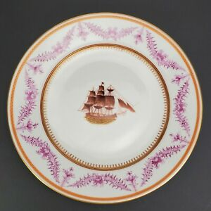 Chinese Export Plate With American Ship 18th 19th Century Excellent Condition A