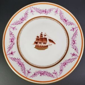 Chinese Export Plate With American Ship 18th 19th Century Excellent Condition C