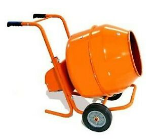 Rugged Easy Roll 5 Cuft Drum Capacity Wheelbarrow Style Electric Cement Mixer