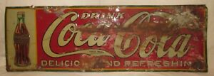 Original 1940's-1950's COCA-COLA Embossed Tin Metal Sign