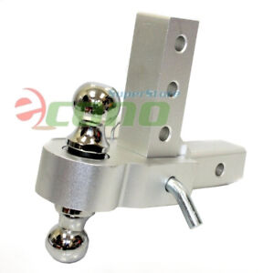 Aluminum 6 Drop Adjustable Tow W Dual Hitch Ball 2 1 7 8 Fit Trailer Receiver