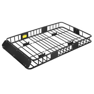 64 Universal Roof Rack Cargo Car Top Luggage Carrier Basket With Extension