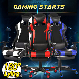 Ergonomic Office Gaming Chair Swivel Racing Style Computer Desk Seat 180 Lying