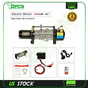 8000lb 12v Electric Recovery Winch Wireless Remote Towing Trailer Truck Offroad