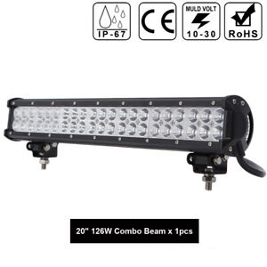 Led Light Bar 20 Inch 126w Spot Flood Combo Work Light Off Road Fog Lights Truck