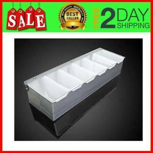 6 Compartments Condiment Dispenser Chilled Server Caddy Food Tra