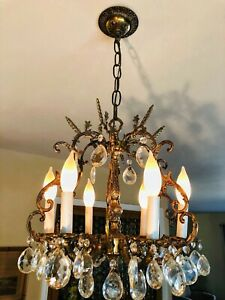 Antique French 6 Arm 6 Lite Brass Bronze Cut Lead Crystal Chandelier