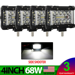 4pcs 4inch Side Shooter Led Work Light Spot Flood Driving Fog Lamp Offroad Suv
