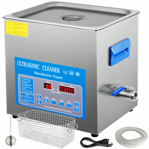 10l Digital Ultrasonic Cleaner With Heater 28 40khz 0 80 Tub Basket Water Drain