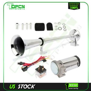 178db 12v Single Trumpet Air Horn Compressor Kit For Van Train Car Truck Boat